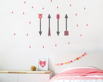 Arrow Wall Decal, Arrows, Gray Decal, Kids Wall Decal, Modern, Tribal. Arrows Wall Decal