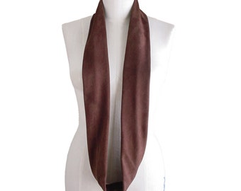 Leather Scarf Suede Leather Infinity Scarf , Suede scarf , Chocolate brown , Tube Loop Scarf Men Women  , made to order
