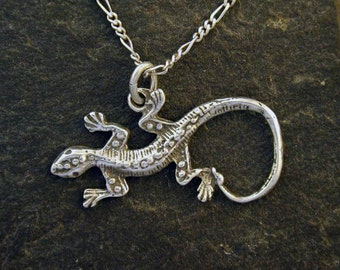 Sterling Silver Lizard Pendant on a Sterling Silver Chain