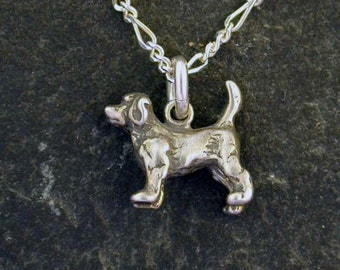 Sterling Silver Beagle Dog Pendant on a Sterling Silver Chain