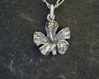 Sterling Silver Hibiscus Flower Pendant on a Sterling Silver Chain