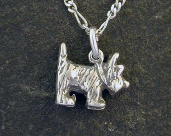 Sterling Silver Scotty Dog Pendant on a Sterling Silver Chain
