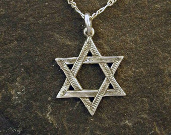 Sterling Silver Star of David Pendant on a Sterling Silver Chain