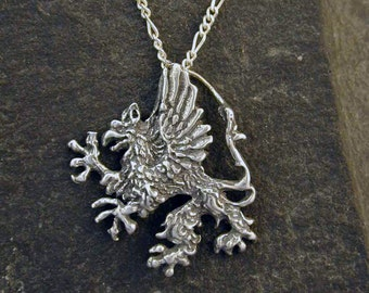 Sterling Silver Griffin Pendant on Sterling Silver Chain.