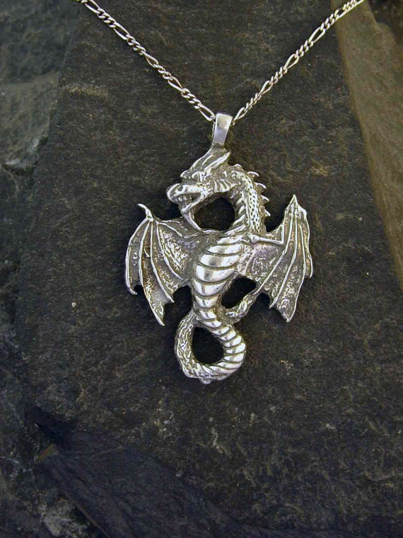 Sterling Silver Large Celtic Dragon Pendant on a Sterling Silver Chain