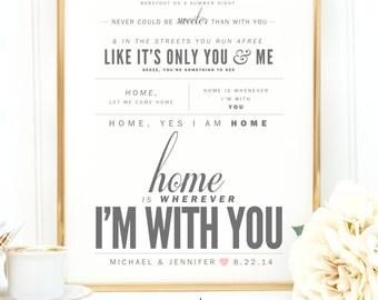 "Light Gray & Blush, Edward Sharpe and Magnetic Zeros ""Home"" - Wedding Gift, Anniversary Gift, Wedding Song Lyrics Wall Art Print - Qty. 1"