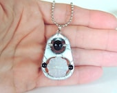 Soda Tab Pendant Necklace - silver, black, white - for teens - soda pop tabs - upcycled/eco-friendly jewelry - under 20