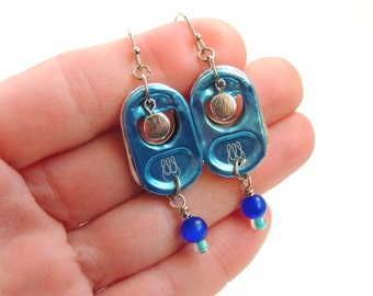 Energy Drink Pull Tab Earrings - POP TAB EARRINGS - turquoise and blue -  for teens and adults - upcycled/recycled jewelry - under 15.00