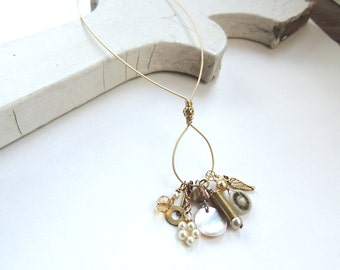 CHARM NECKLACE - guitar string necklace - gold with pearls - for teens and adults - recycled/upcycled jewelry - under 35.00