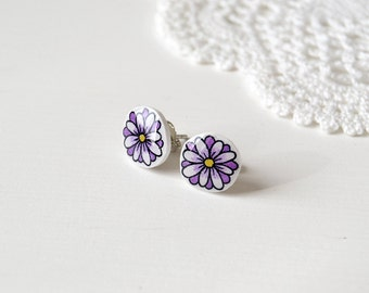 Purple violet flower post earrings in shrink plastic and resin
