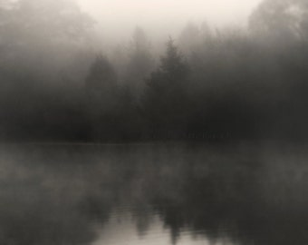 landscape photography, fog photography, lake house decor, lake photography, moody, trees in fog, dark, foggy lake, Somber Lake