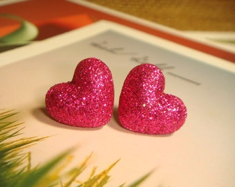 Glitter Hot Pink Heart Shaped Fabric Covered Button Stud/Post Earrings (E262)