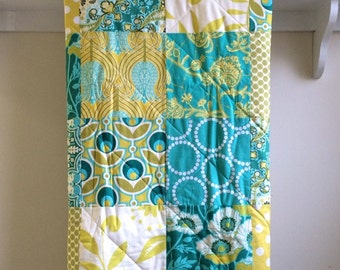 Baby Quilt - Notting Hill - Emerald Green, Teal, Citron Yellow, Olive, Turquoise, White, and Ivory, Toddler Quilt, Flannel or Minky Back