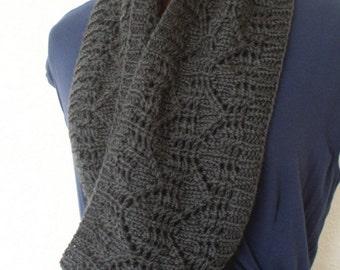 Knitted Cowl - grey wool neckwarmer