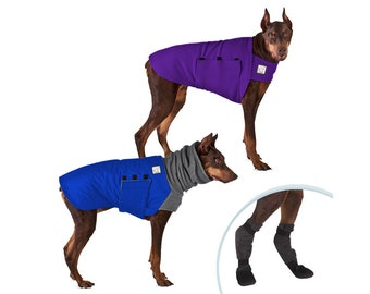 DOBERMAN PINSCHER Cold Climate Special, Dog Winter Coat, Dog Sweater, Dog Booties, Dog Winter Jacket,  Fleece Dog Coat, Winter Boots for Dog