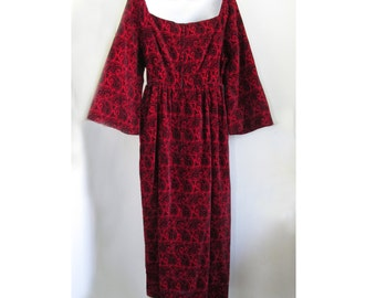 1960s MOD Red Velvet Paisley Party Dress with Bell Sleeves by Calderon