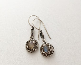 Fine Silver Opal Drop Earrings - Sterling Silver Wires - Genuine Opal - handmade - blue white gray