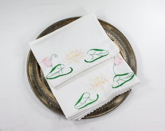 Vintage Lotus Pillowcases - Embroidered Pink White Floral with Green Leaves & Crochet Lace on Cotton Pillow Case Tubing - Pair - Water Lily