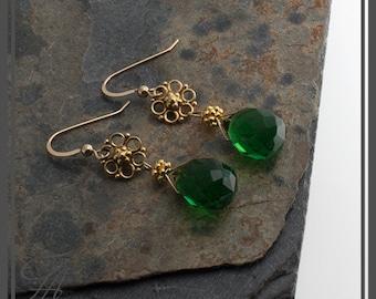 Green Quartz Earrings Green briolette Earrings, Drop Earrings Gold Earrings, Handmade Earrings, Bridal Earrings, Bridesmaid Earrings