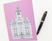 Liverpool Journal, Pink Journal, A5 Notebook, Recycled Journal, Blank Journal, Travel Journal, Liver Building Journal