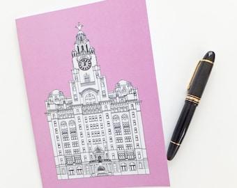 Liverpool Journal, Liverpool Notebook, Pink Journal, A5 Notebook, Recycled Journal, Blank Journal, Travel Journal, Liver Building Journal