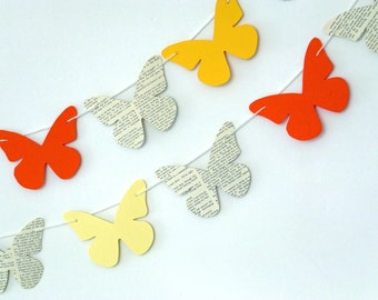 Butterfly bunting, Spring paper garland, orange and lemon butterflies, butterfly banner, eco-friendly, Spring decor