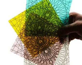 Diamond Origami Paper - 8 Sheets Medium 5 Inch Squares - Radiant Translucent Origami Paper - Modern, geometric origami paper