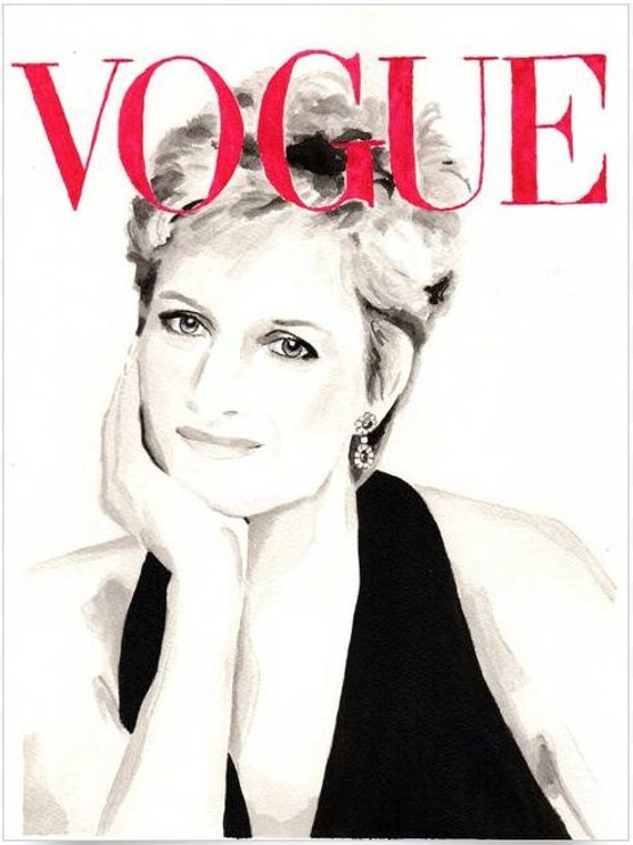 Vogue. Lady Diana Spencer. Original Watercolor. 9x12.