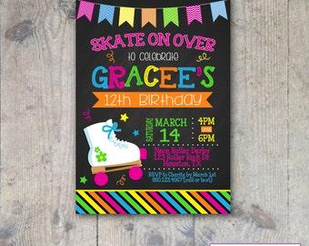 CHALKBOARD ROLLER SKATING 5x7 Birthday Party Invitation - Printable