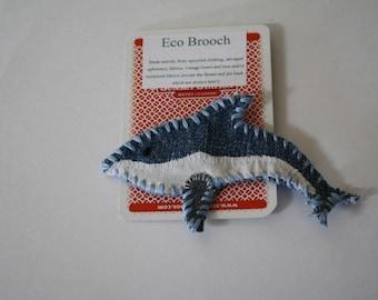 Dolphin brooch; Eco friendly accessory, Dolphin pin