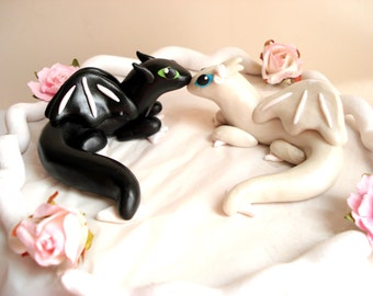Dragon Wedding Cake Topper Geek Cake Toppers Black and White Wedding Dragons