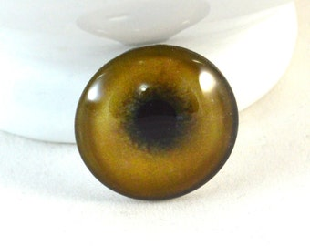 Glass Eye Cabochon 30mm Brown Lion Eye for Steampunk Jewelry Making or Taxidermy Doll Eyeball Flat Back Circle