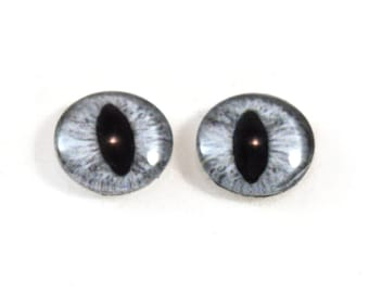 16mm Gray Cat or Dragon Glass Eye Cabochons - Evil Eyes for Doll or Jewelry Making - Set of 2