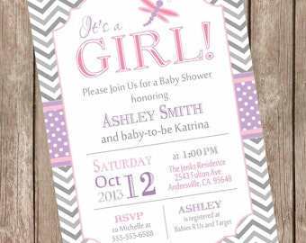 Dragonfly baby shower invitation, pink and purple baby shower invitation, chevron invitation, invitation, printable invitation  DFPPG