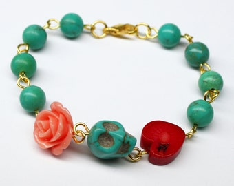 Original Day of the Dead Turquoise Coral Heart Pink Rose Frida Kahlo's Flower Jewelry Atlanta White Sugar Skull Bracelet