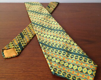 Vintage Pennwood Polyester Mens Necktie, Green Yellow Orange Turquoise Geometric Pattern