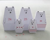 ADVENT CALENDAR -25 little Polar Bears and décor Paper Craft Kit- Diy-Paper Toy-Holidays décor- PRINTABLE pdf- Christmas Ornament