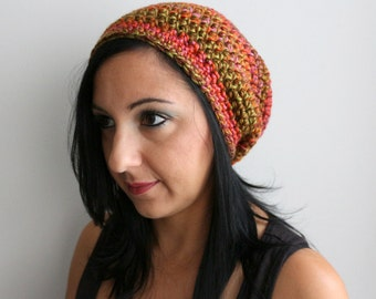 Earthy Multicolor Striped Adult Beanie Hat, Slouchy Beanie Hat, Winter Fashion Accessories