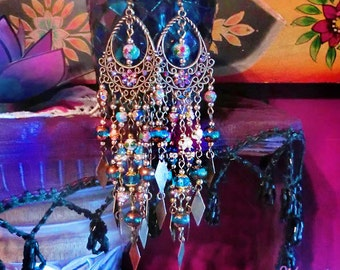 "Long Emerald Green, Aqua Blue or Ruby Red Crystal & Cloisonne Bohemian Mermaid Chandelier Earrings, 5"" Long Dangling Charm Earrings"
