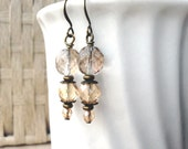 Champagne faceted glass earrings: Stories Remain Untold - wedding earrings, handmade earrings, brass earrings, bohemian, unique gift