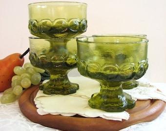 "Vintage Champagne Coupes, Tiffin Franciscan MADEIRA Citron Green Barware, 3 5/8"" 8oz Stemware, Set of 4  ... Sherbet, Dessert Glasses"