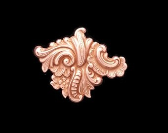 Copper Plated Rose Gold Brass Rococo Nouveau Floral Corner Diamond Stamping Vintage Tooling Perfect for Steampunk Art Made in the USA Brass