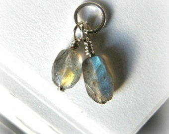 SMALL Labradorite Pendant with Two Stones / Mystical Flashy Blue Gold Coloration, Unique Autumn Speckled Gray Stone Nugget Shapes