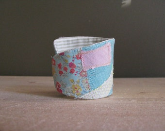 mori girl aqua linen collage wrist cuff - coral red button - pastel colours wrist cuff - textile bracelet, mothers day gift - liberty fabric