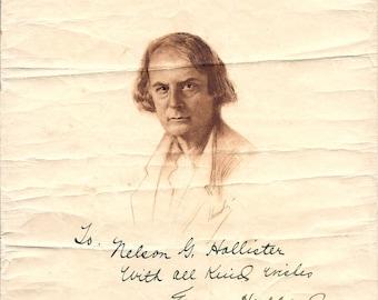 Antique Elbert Hubbard Signature with Copper-Engraved Portrait Roycroft Arts & Crafts Movement