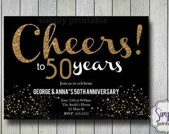 Cheers Wedding Anniversary Invitations - Gold & Black
