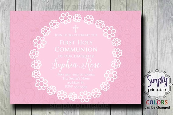 Flower Girls Baptism or Communion Invite