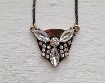 Rhinestone Necklace, Art Deco Necklace, Rhinestone Necklace, Clear Rhinestones, Statement Necklace, Jewelry, J Crew Necklace, Necklace