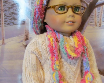 Knit Hat and Scarf, Doll Hat,  Tam Hat, 18 inch  Doll Clothes
