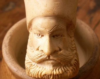 Vintage Hand Carved Meerschaum Smoking Pipe - Carved Head of a Man